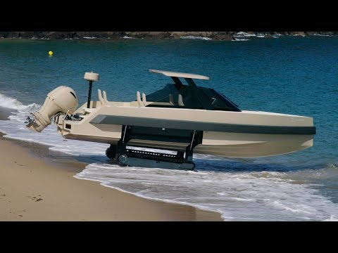 The amphibious boat with a cabin and sealed helm