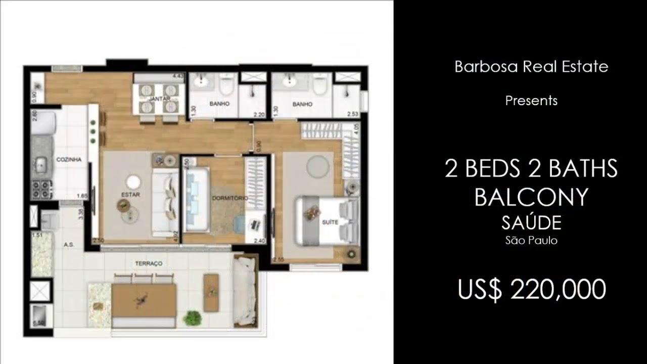 Sao Paulo City Appartement A Vendre Bresil 2 Chambres 2 Salles De