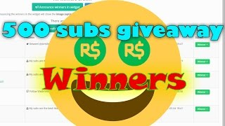 GIVEAWAY WINNERS OF 1K ROBUX 500 SUBS GIVEAWAY!