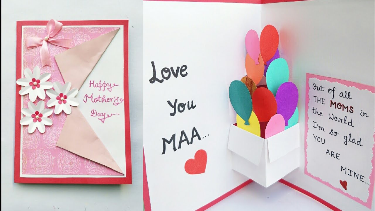 Diy Mothers Day Card Mothers Day Pop Up Card Making Pop Up Balloon Card For Mom