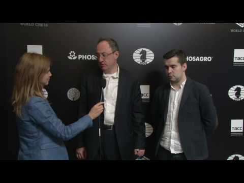 Day 5 Interview with GM Boris Gelfand Hammer and GM Ian Nepomniachtchi