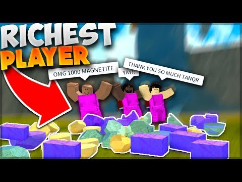 RICHEST PLAYER GIVING EVERYTHING AWAY TO NOOBS | Roblox: Booga Booga