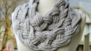 Repeat youtube video Double Layered Braided Cowl - Crochet Tutorial