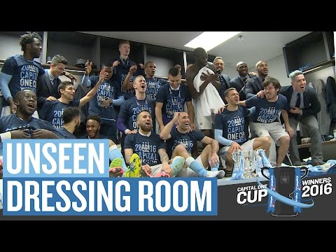 DRESSING ROOM CELEBRATIONS | Capital One Cup Final | Man City v Liverpool