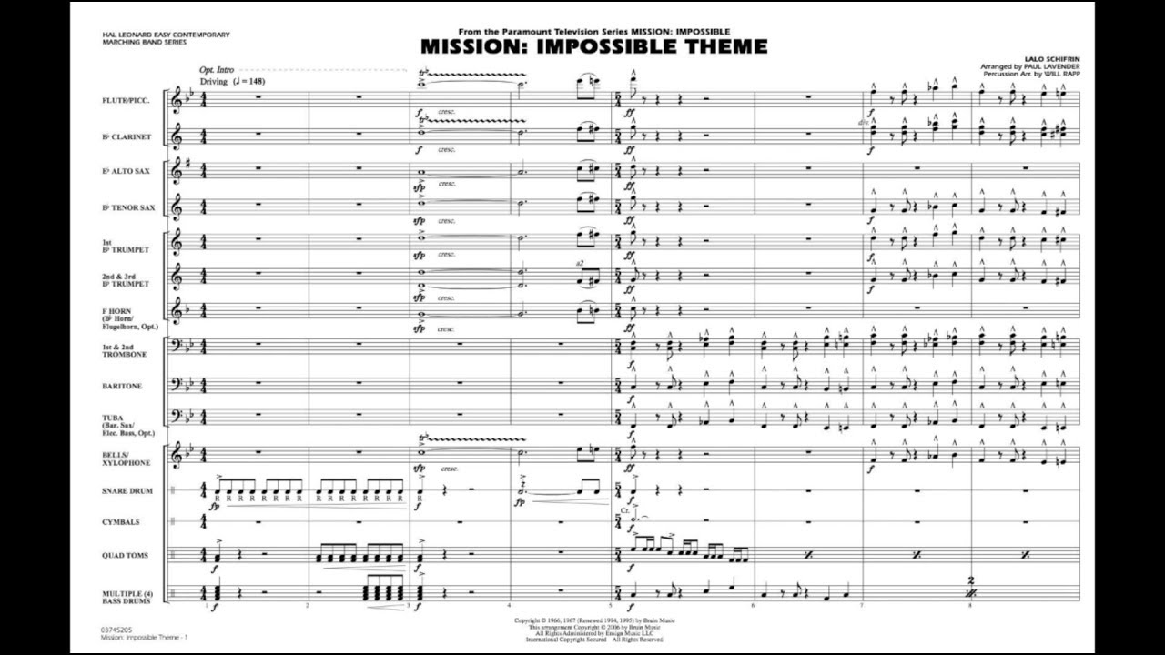 Mission: Impossible Theme by Lalo Schifrin/arr. Paul Lavender - YouTube