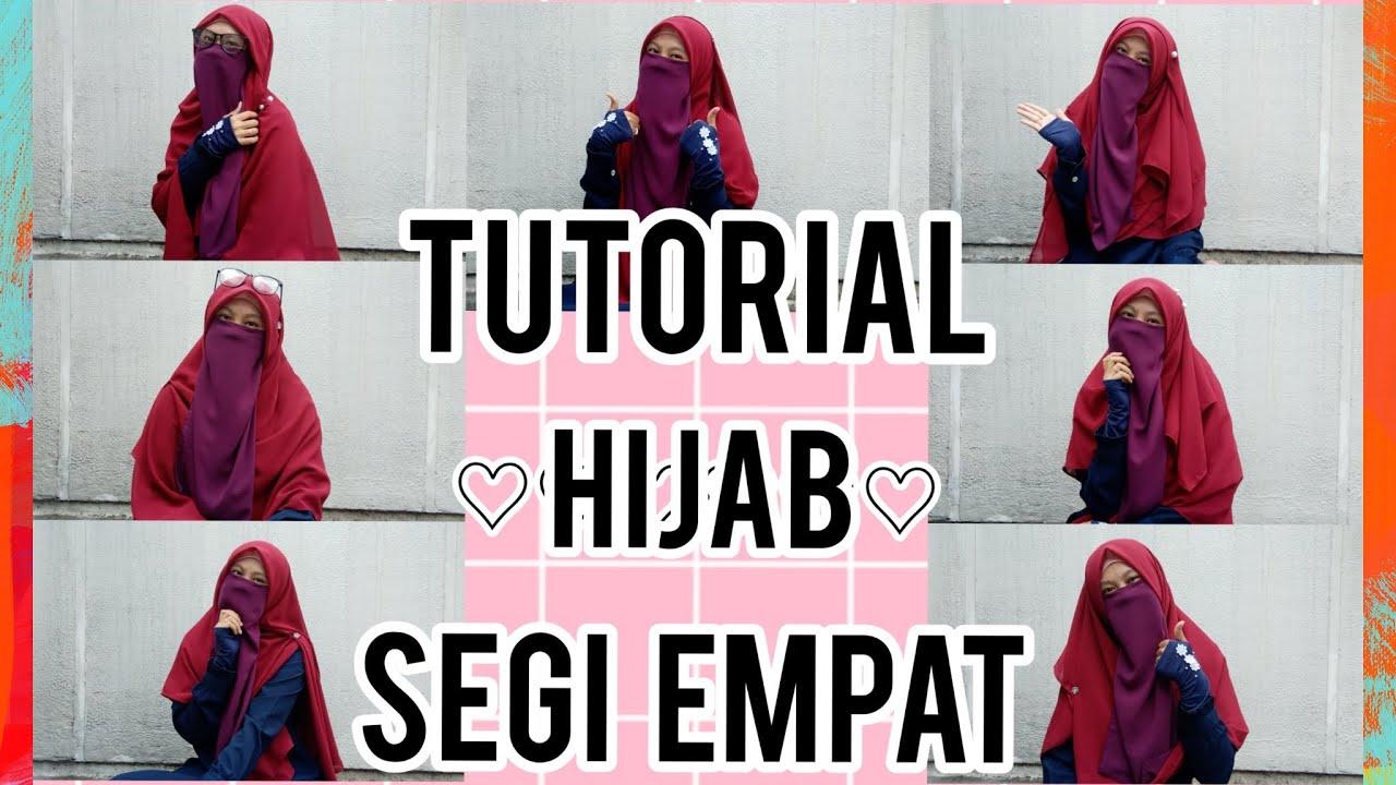 Tutorial Hijab Segi Empat Syar I Untuk Wanita Bercadar Part2 Youtube