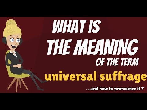 What is UNIVERSAL SUFFRAGE? What does UNIVERSAL SUFFRAGE mean? UNIVERSAL SUFFRAGE meaning