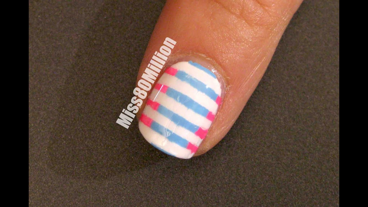 Pink and Blue Stripes - Back to School Nail Art Tutorial - YouTube
