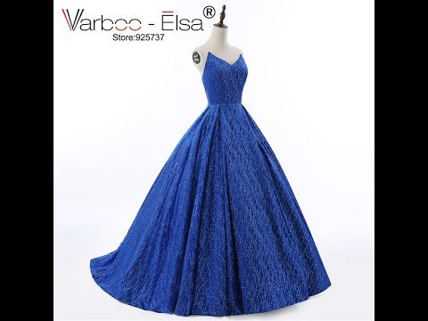 VARBOO_ELSA 2018 Luxury Royal Blue Party Dress V-neck Backless Sequin Evening Dress Strapless Party