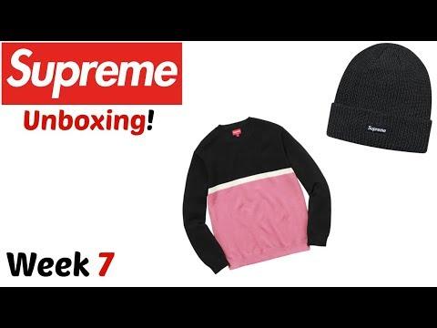 2766724e963d3 Supreme  Split Pique Crewneck (Pink)   Heather Loose Gauge Beanie (Black)  Unboxing! (FW17 Week 7)
