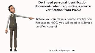 Do I need personal identification documents when requesting a source verification from MCC?