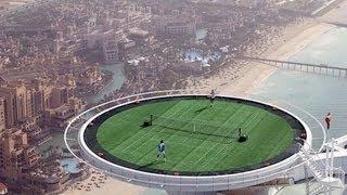 Höchster Tennisplatz der Welt in Dubai auf dem Burj Al Arab Hotel