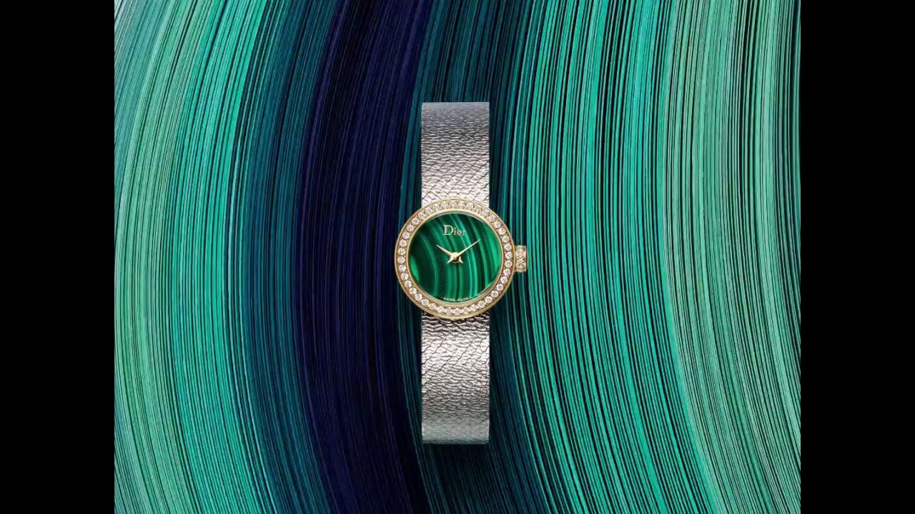 c6d8917a5 Mini D de Dior Satine quartz acier cadran malachite et diamants 19 ...