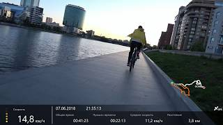 Набережная Исети, моноколесо и велосипед
