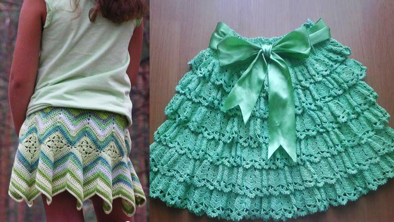Faldas para ni a tejida a crochet youtube for Disenos de faldas