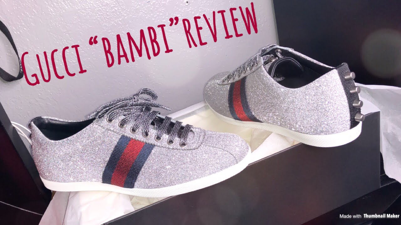 "a0bd459b9be3 Gucci ""Bambi"" Glitter Sneaker Review + On Feet   REALLY BRIGHT - YouTube"