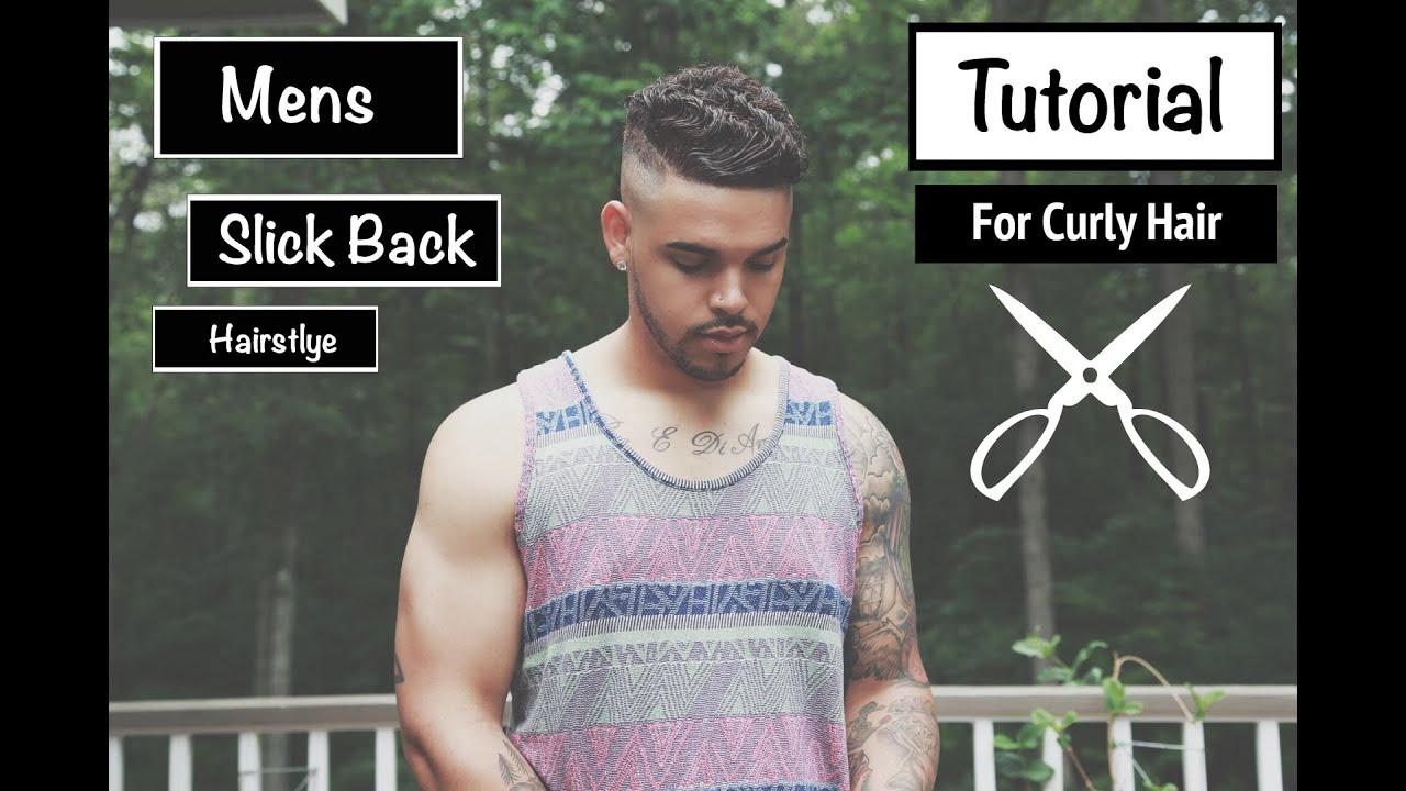 Mens Slick Back Hairstyle For Short Wavy Mixed Curly Hair