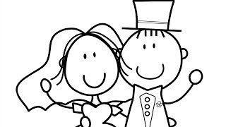 How to Draw & Paint Bride and Groom. Coloring Book Coloring for children & Learning Colours For Kids