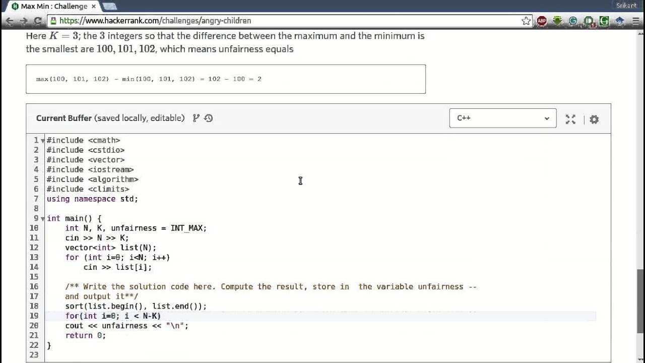 HackerRank 'Max Min' Solution