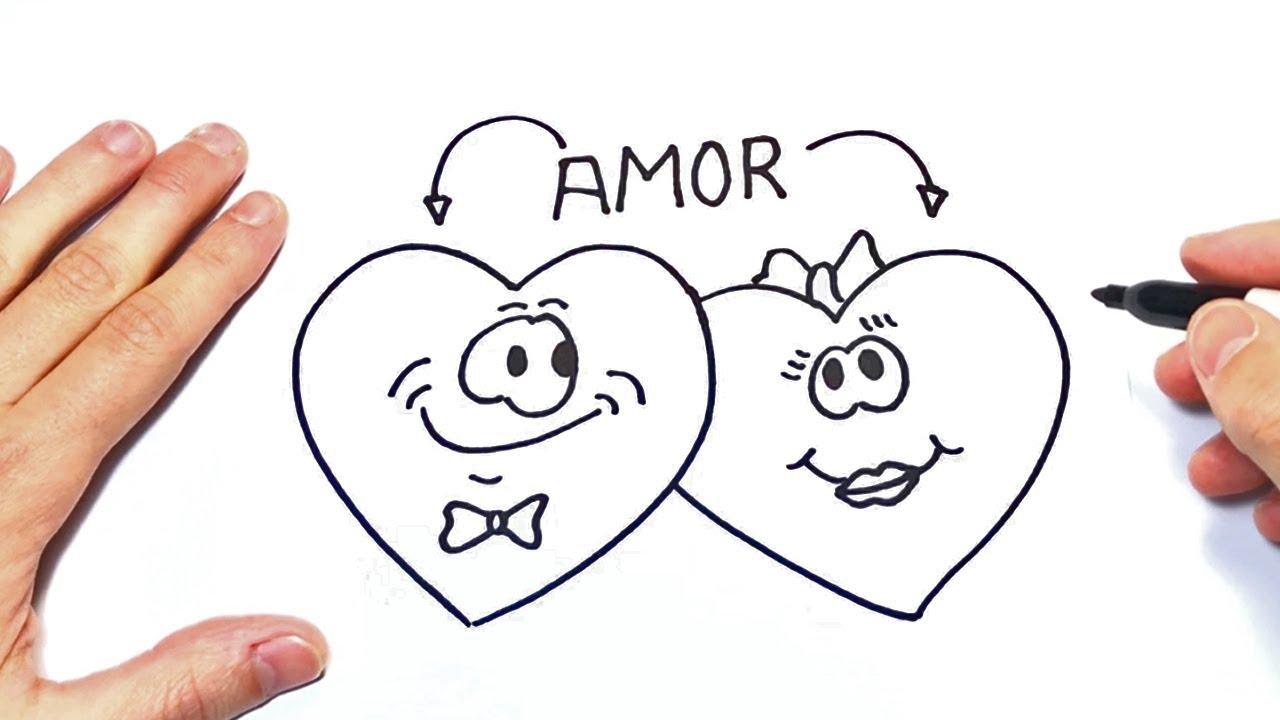 Como Dibujar Dos Corazones Enamorados Dibujos De Amor Youtube