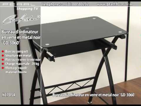 nc7054 bureau d 39 ordinateur en verre et m tal noir 39 39 gd 3060 39 39 youtube. Black Bedroom Furniture Sets. Home Design Ideas