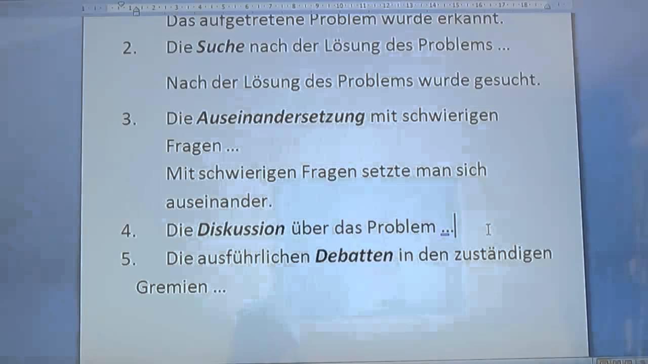 deutsch live unterricht dsh vorbereitung transformationen 8 - Dsh Prufung Beispiel Mit Losungen