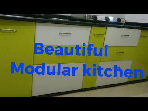 Beautiful Modular Kitchen With Parrot Colour Kitchen Trolley Very