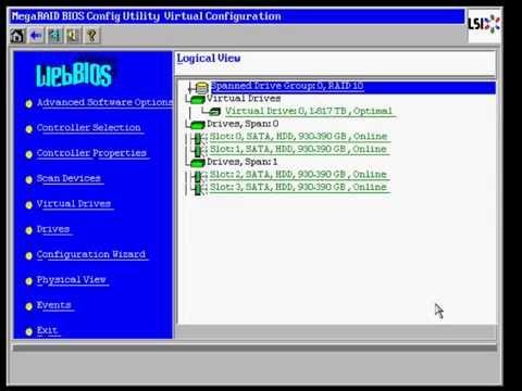 LSI 2208 RAID10 настройка - YouTube