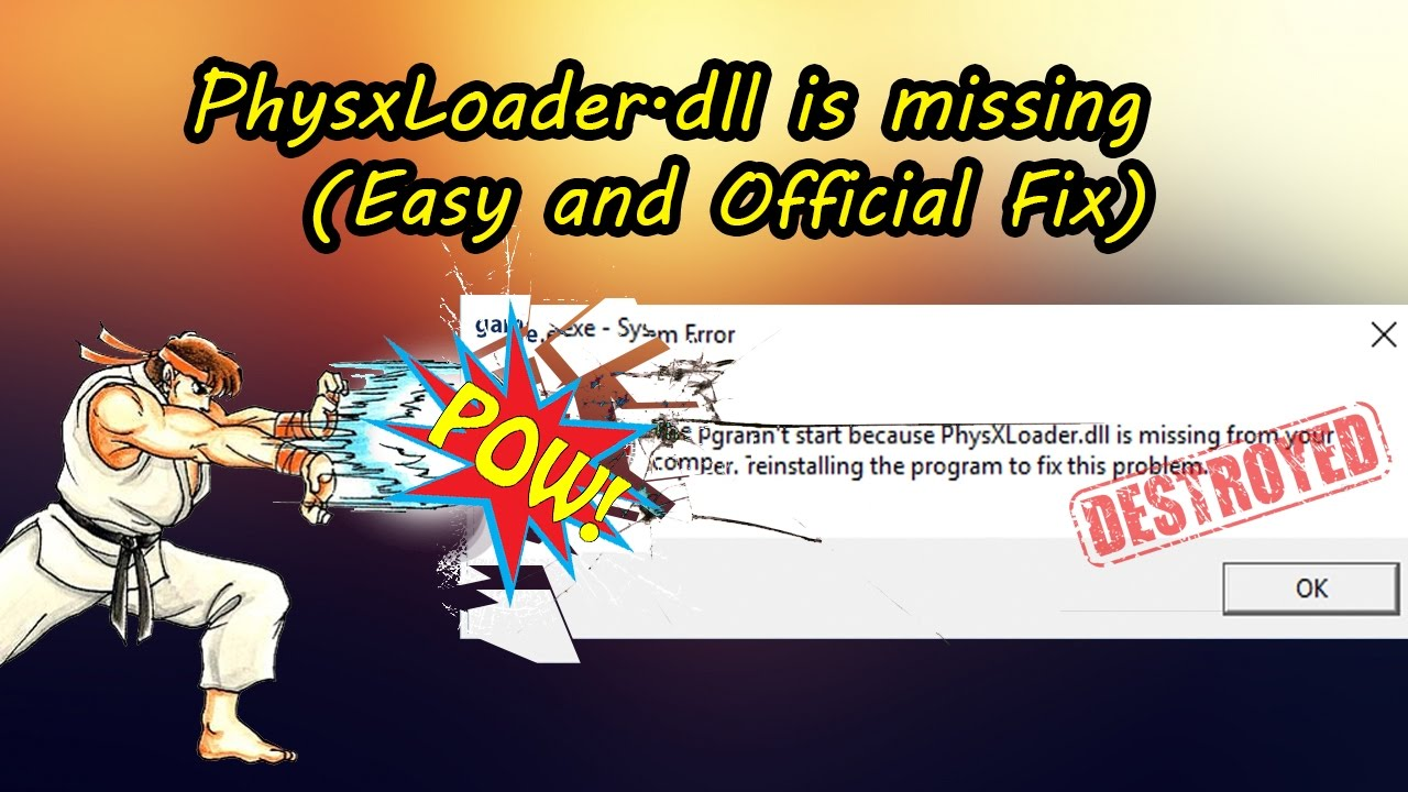 How to fix PhysxLoader.dll is missing | Easy and Official Fix - YouTube