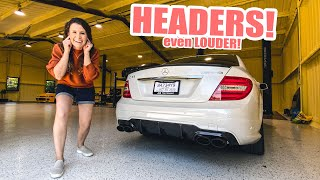 Making my wife's C63 AMG EVEN LOUDER!! (Headers & Full exhaust)