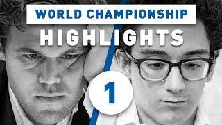 Caruana - Carlsen Game 1 Highlights World Chess Championship 2018