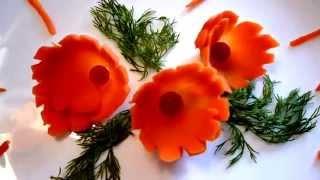 Цветок из  моркови! Украшения из овощей! Carving carrot. Decoration of vegetables