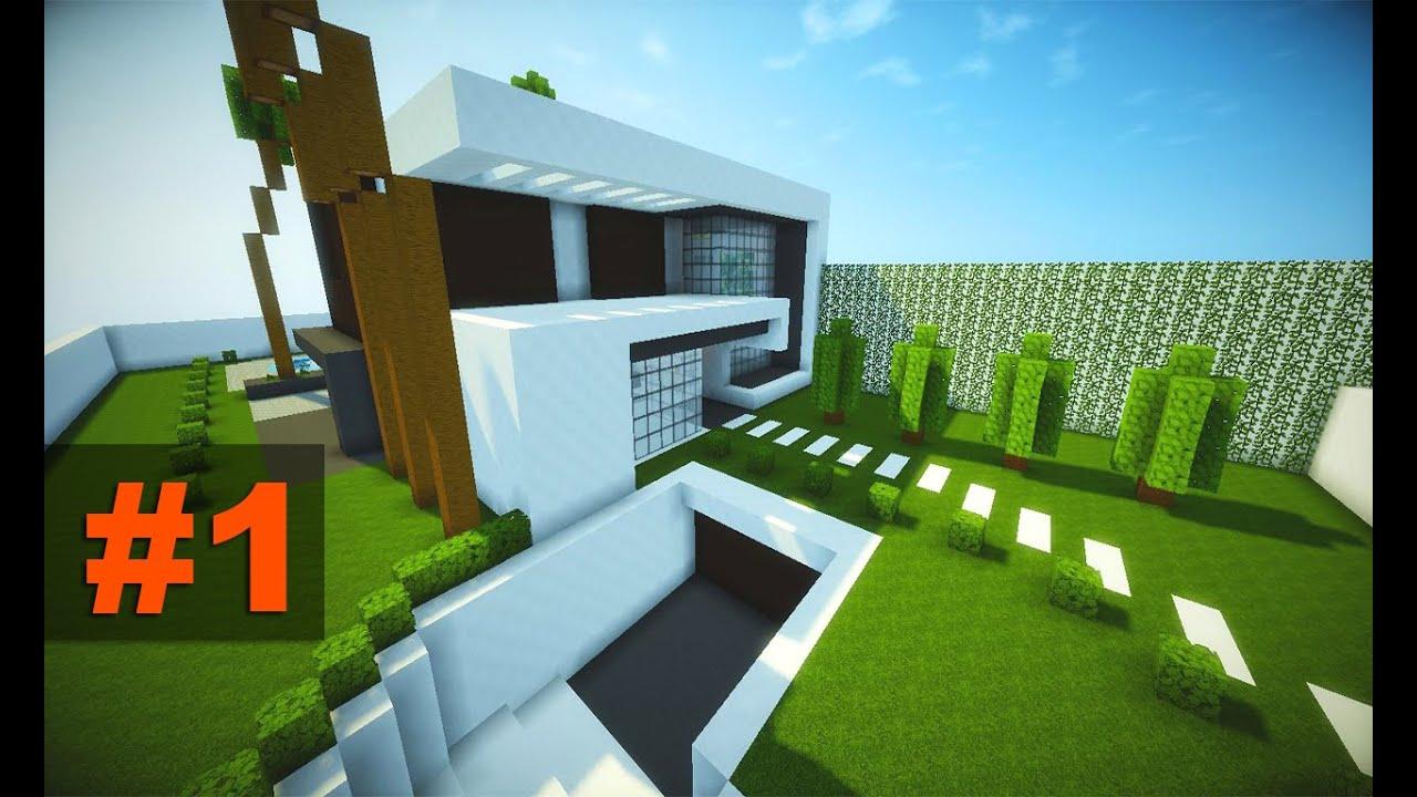 Tutoriais minecraft casa moderna com garagem subterr nea for Casa moderna minecraft easy