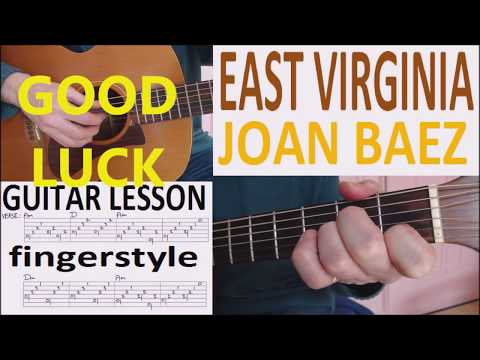 EAST VIRGINIA - JOAN BAEZ fingerstyle GUITAR LESSON