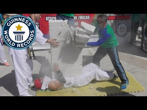 Concrete blocks smashed on the chest - Guinness World Records