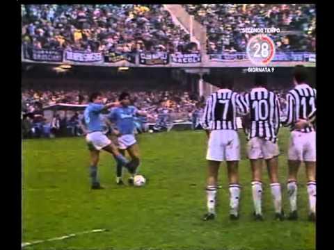 Napoli-Juventus 1-0 (3/11/1985) La punizione di MARADONA - Radiocronaca di Enrico Ameri