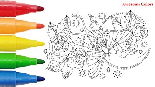 Coloring Pages For Kids | Butterfly Roses & Moon | Learn How To Color | Ipad Pro