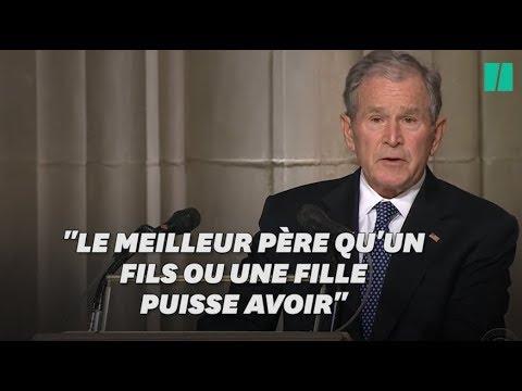 George W. Bush a eu beaucoup de mal à retenir ses larmes pendant léloge à son père