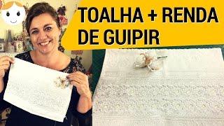 TOALHA DECORADA COM RENDA DE GUIPIR E PÉROLAS