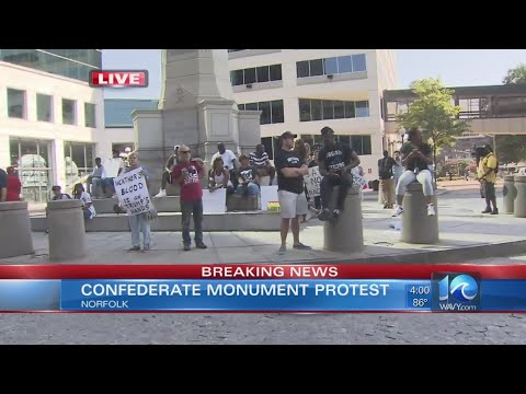 Protesters gather at Confederate monument in downtown Norfolk