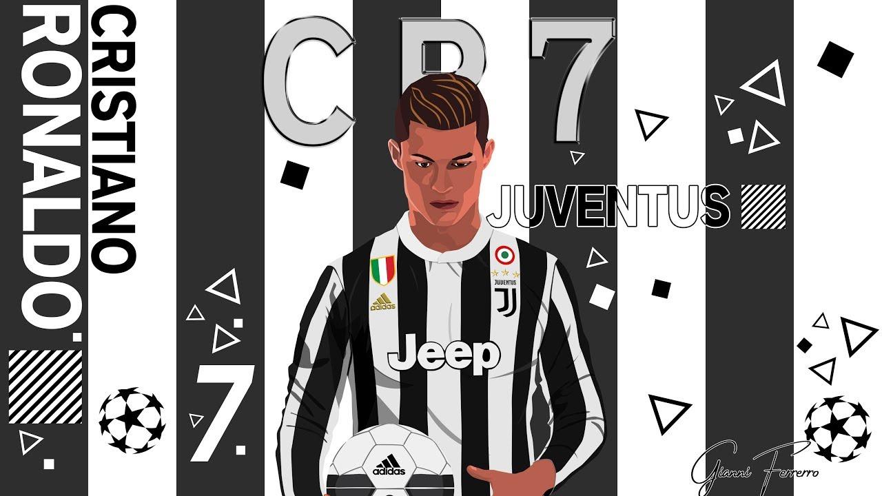 Cristiano Ronaldo Alla Juventus Vettoriale Photoshop Manipolation