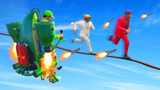 ROCKET JETPACKS vs. TIGHTROPE RUNNERS! (GTA 5 Funny Moments)