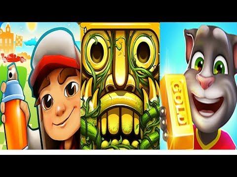 Talking Tom Gold Run vs Subway Surfers vs Temple Run 2   Fun Games For Kids TLKK