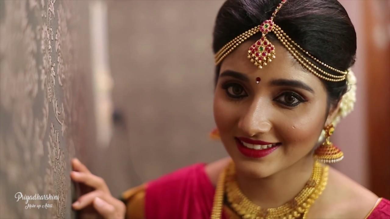 traditional south indian bridal look   muhurtham makeover  priyadharshini - make up artist