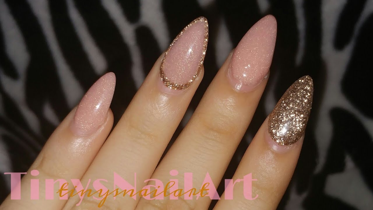 Rose Gold & Glitter Almond Nails - YouTube