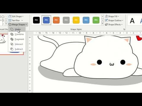 สร้างกราฟิกการ์ตูนรูปแมวเหมียวด้วย PowerPoint