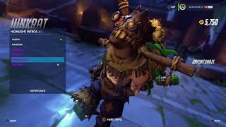 Overwatch: Junkrat Scarecrow Skin All Emotes, Poses, Intros & Weapons + First Person(Legendary)