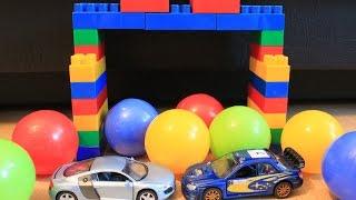 Мультики про машинки, Субарик и Лелик играют в мячики, мультики для самых маленьких