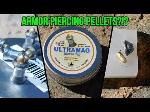 SKENCO Ultramag METAL TIP PELLET REVIEW! .25 Caliber PCP Rifle Test