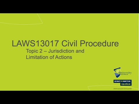 LAWS13017_02 Jurisdiction and Limitation of Actions